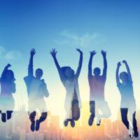 Diversity Casual Teenager Team Success Winning Concept